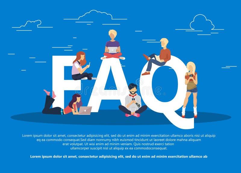 Ejemplo con frecuencia pedido del concepto de las preguntas de la gente joven que coloca letras cercanas Vector plano ilustración del vector