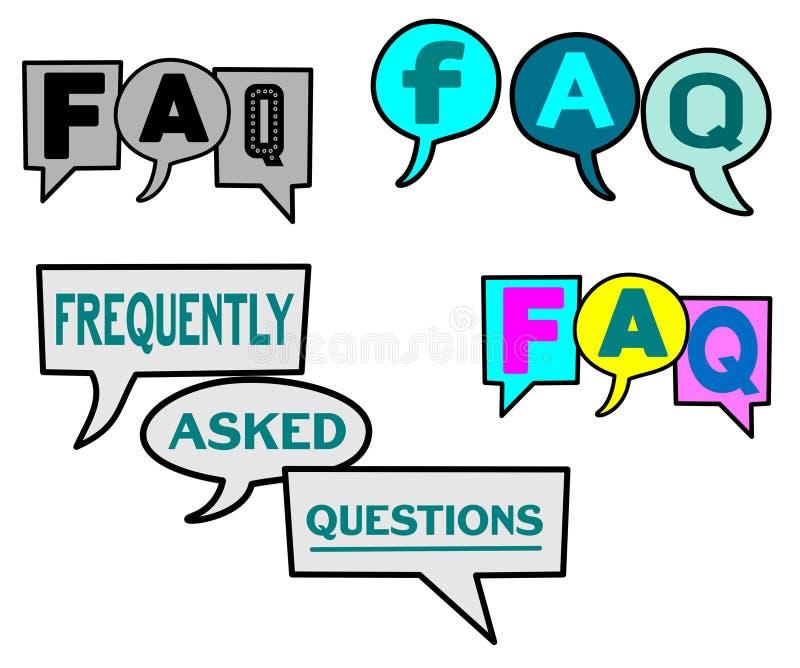 Ejemplo con frecuencia pedido del vector del FAQ de las preguntas stock de ilustración