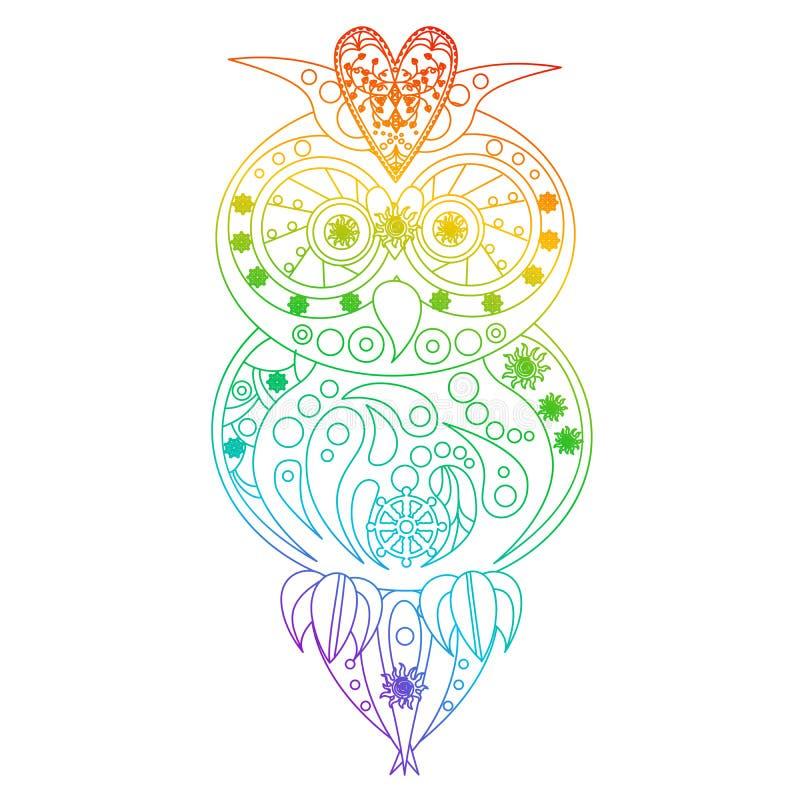 Ejemplo con la mandala hermosa con el búho hermoso libre illustration