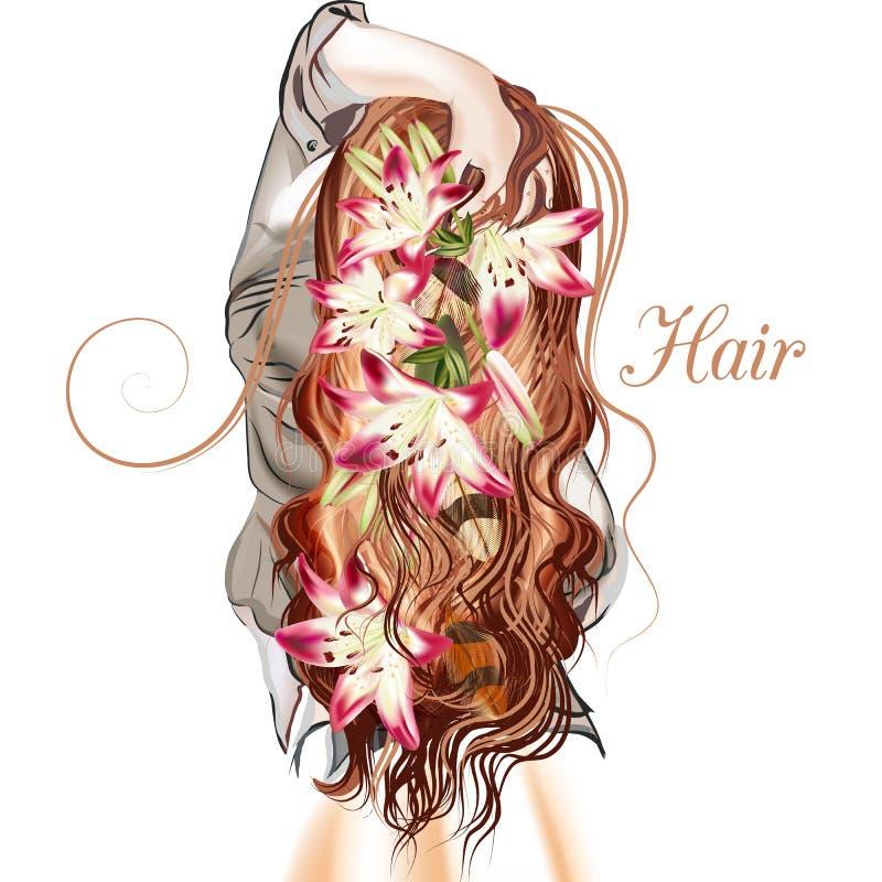 Ejemplo con la muchacha hared larga linda que retrocede libre illustration