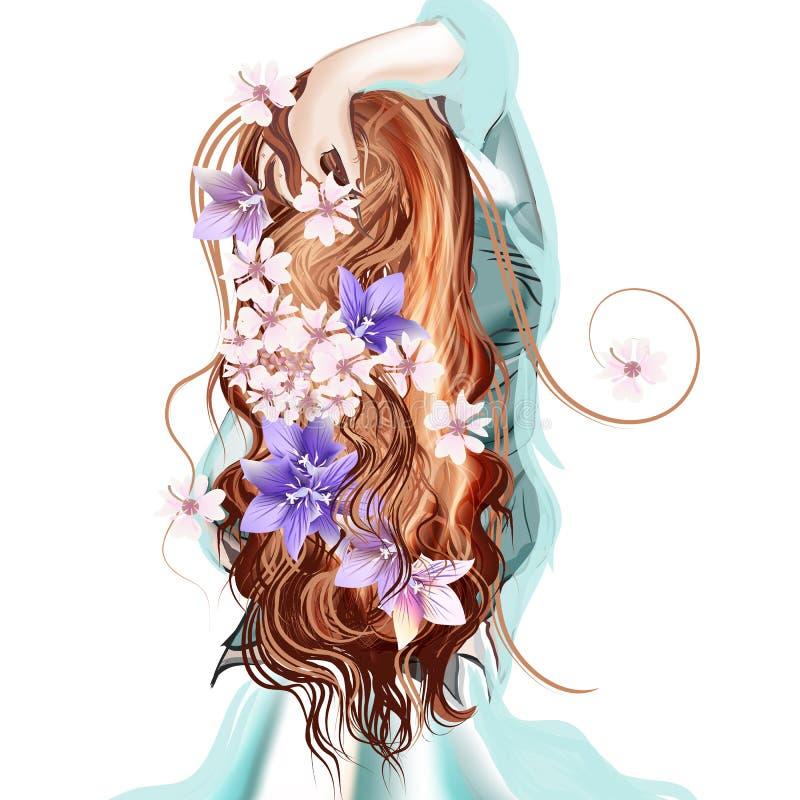 Ejemplo con la muchacha hared larga linda que retrocede ilustración del vector