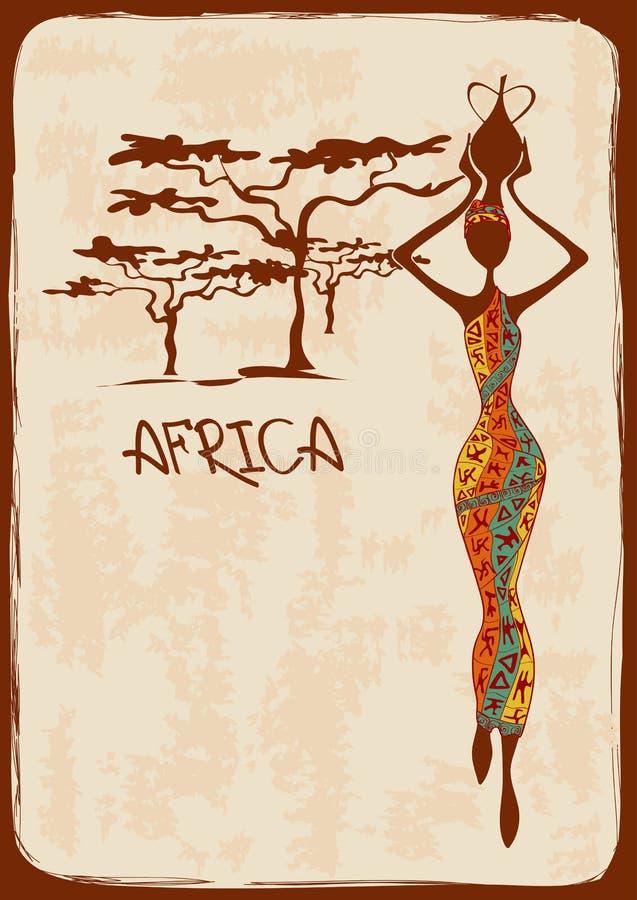 Ejemplo con la mujer africana hermosa stock de ilustración
