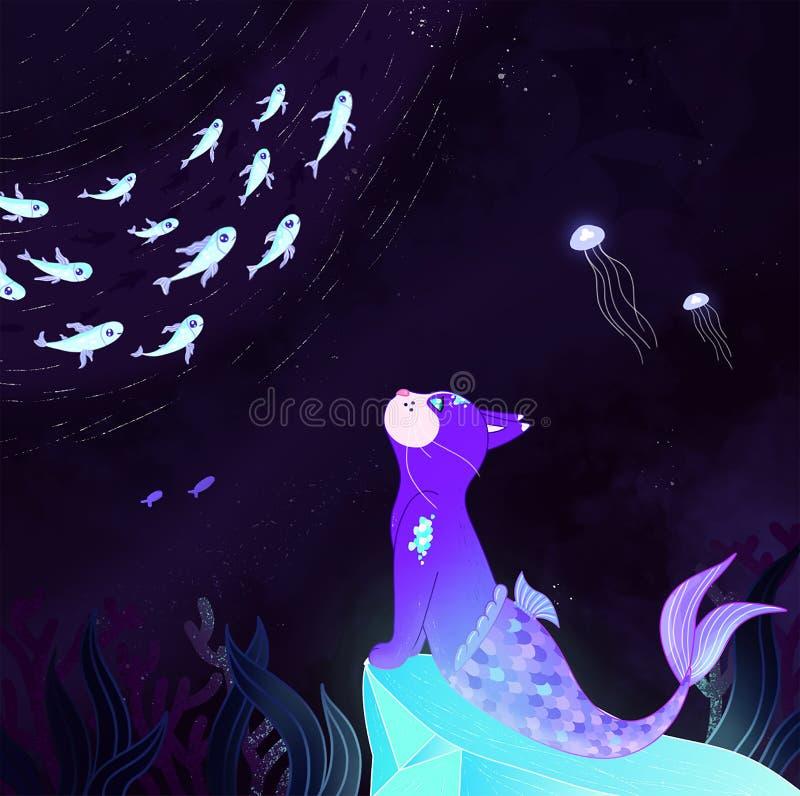 Ejemplo con la sirena del gato que se sienta en una piedra y que mira los pescados stock de ilustración