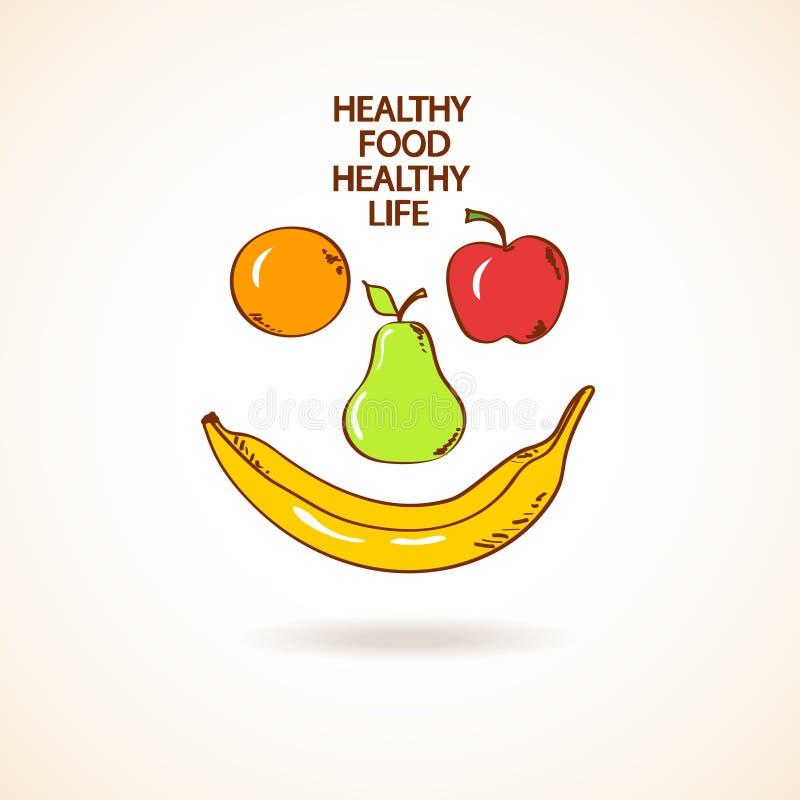 Ejemplo con la sonrisa hecha de frutas ilustración del vector