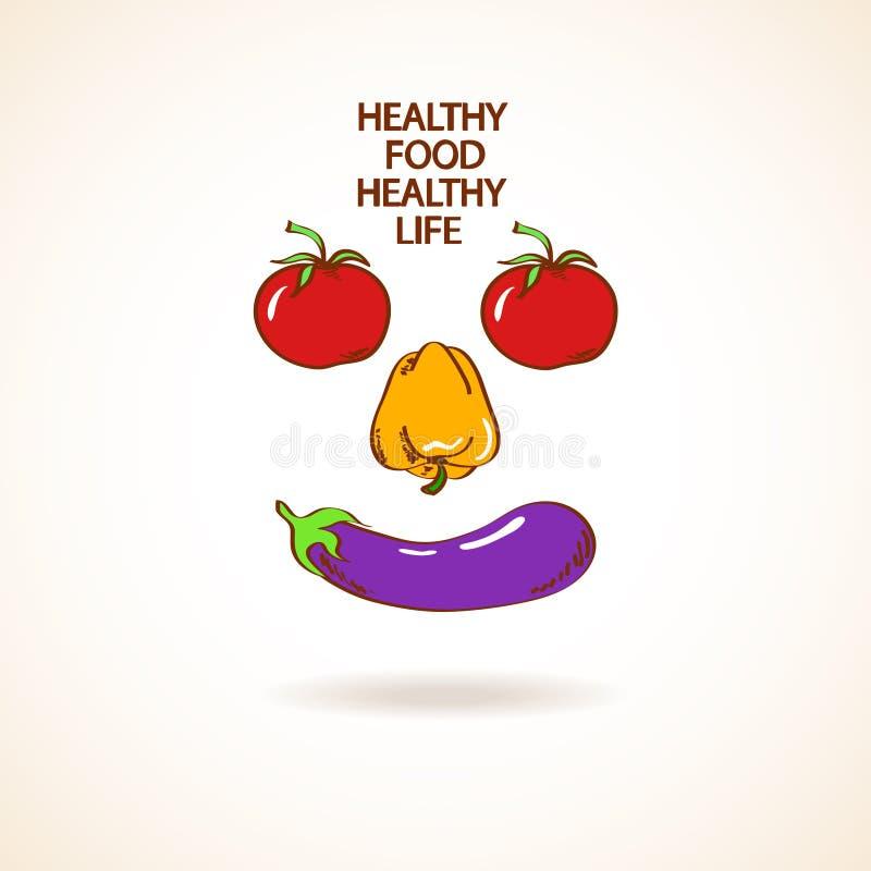 Ejemplo con la sonrisa hecha de verduras stock de ilustración
