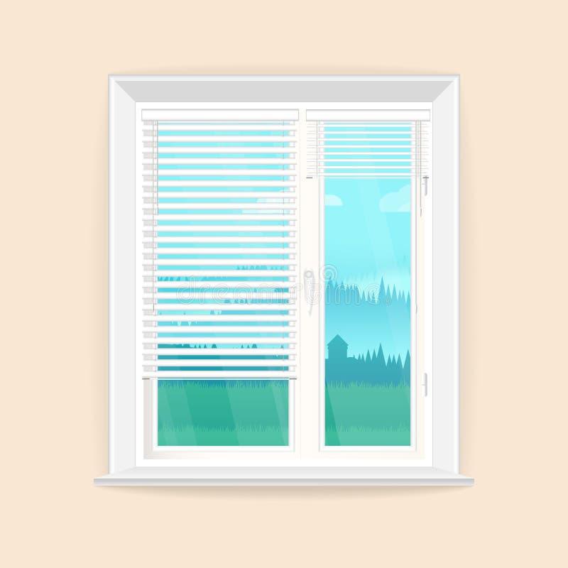 Ejemplo con la ventana en estilo realista y el paisaje rústico fuera de la ventana stock de ilustración