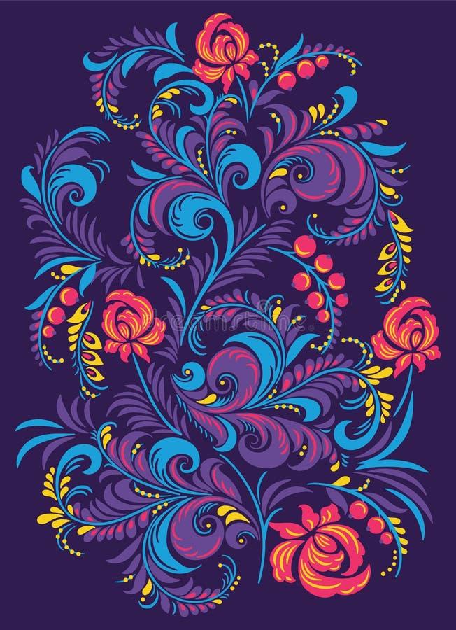 Ejemplo con las flores en el estilo tradicional ruso Gorodets libre illustration