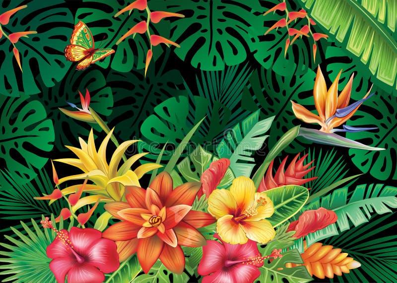 Ejemplo con las plantas tropicales stock de ilustración