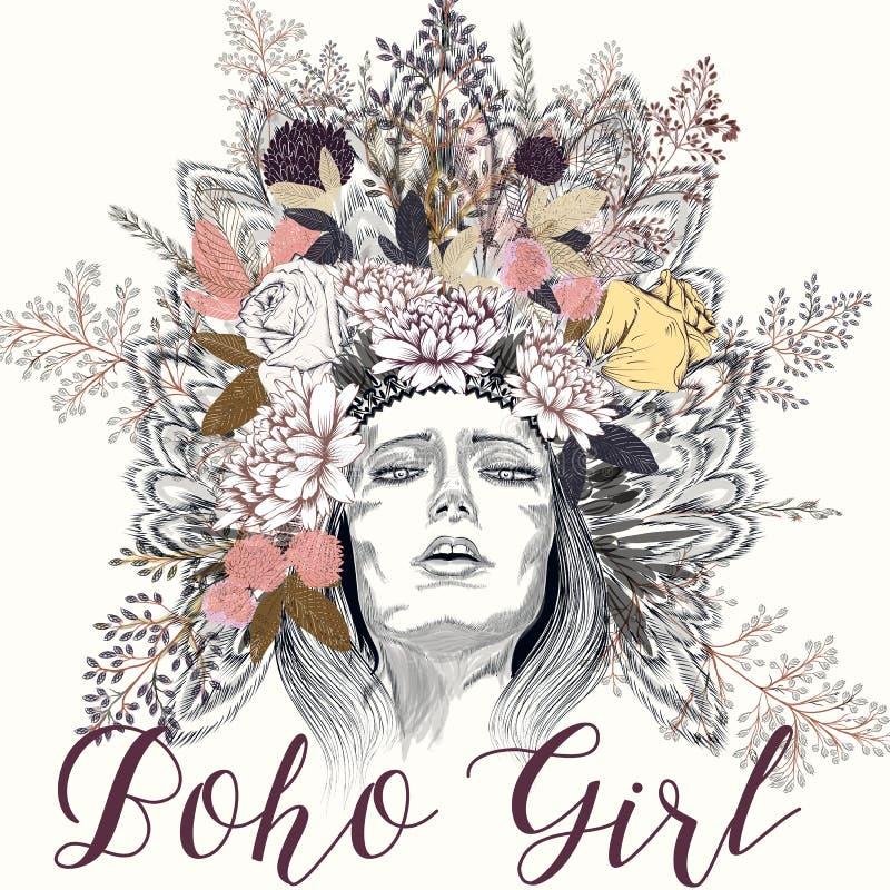 Ejemplo con las plumas de la muchacha y las flores de la primavera libre illustration