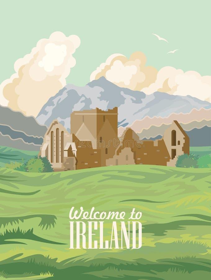 Ejemplo con las señales, castillo irlandés, campos verdes del vector de Irlanda libre illustration