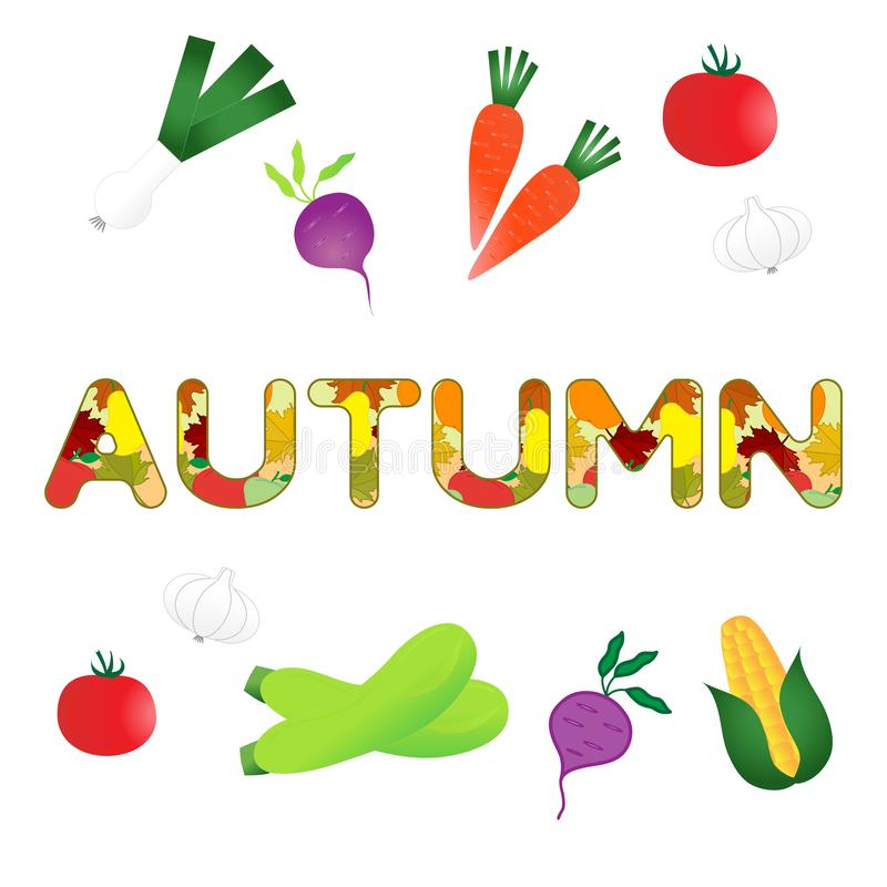 Ejemplo con las verduras del otoño stock de ilustración