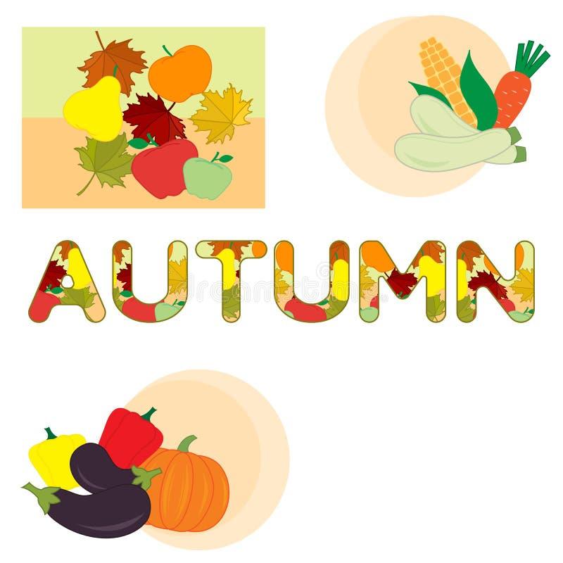 Ejemplo con las verduras del otoño, frutas stock de ilustración
