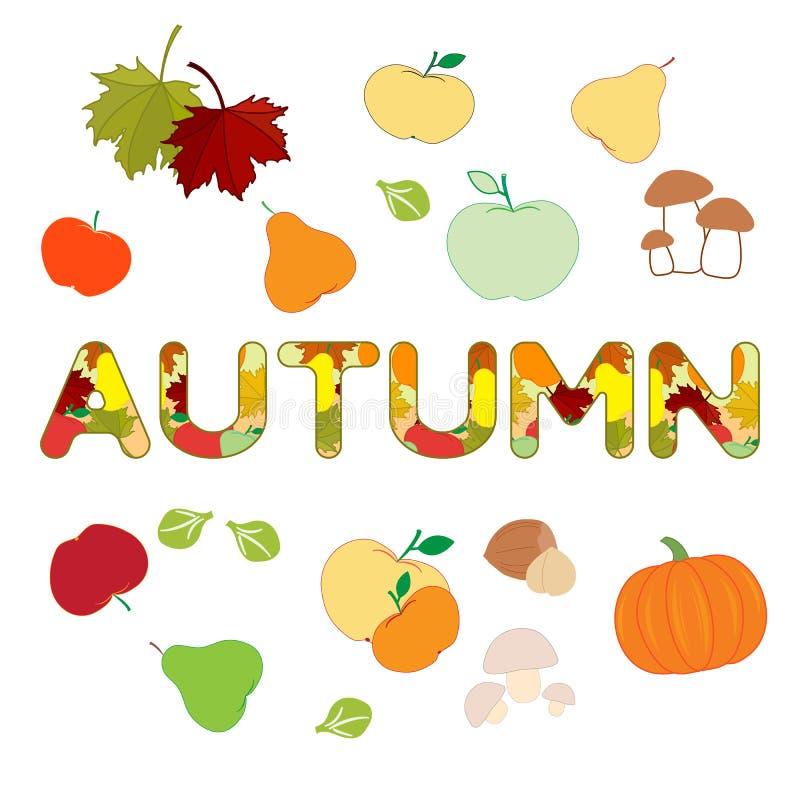 Ejemplo con las verduras del otoño, frutas libre illustration