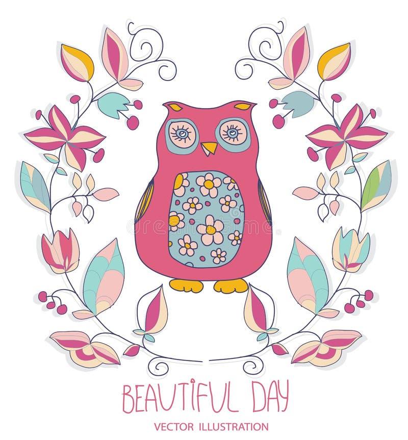 Ejemplo con los búhos decorativos coloridos stock de ilustración