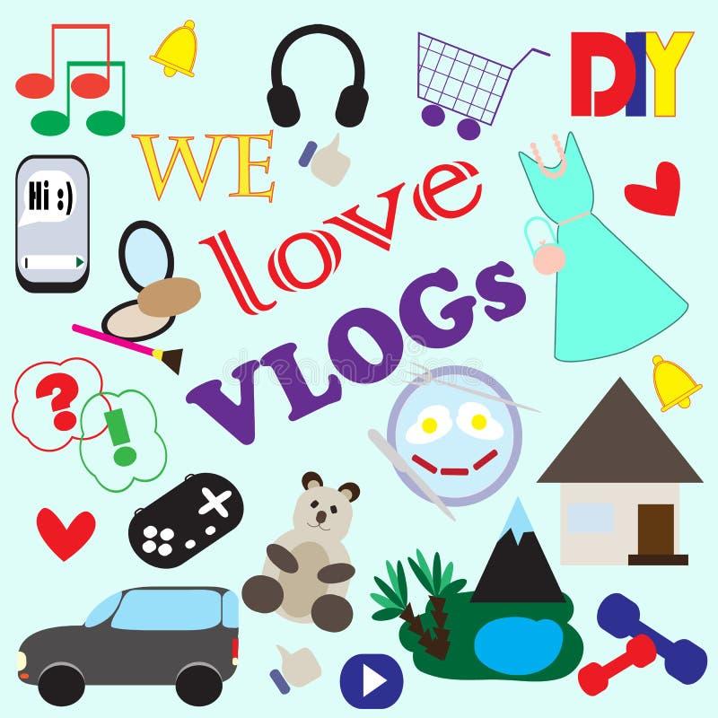 Ejemplo con los iconos de diversos temas de blogs video populares ilustración del vector