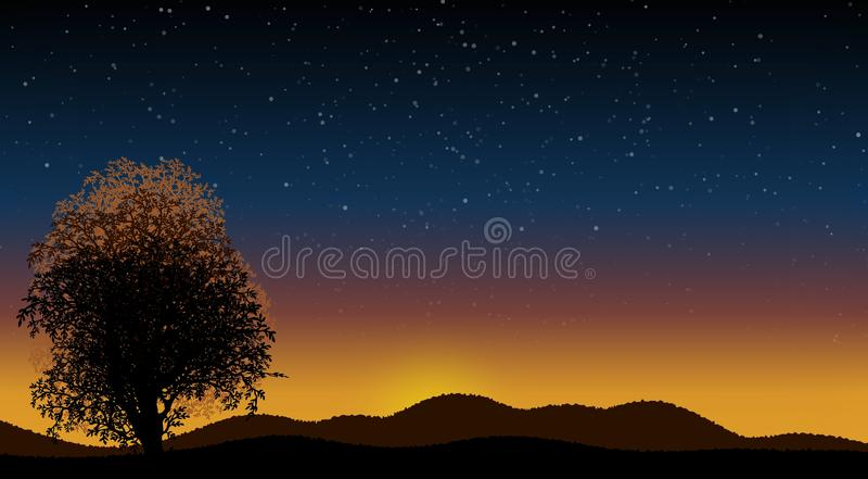 Ejemplo con paisaje de la noche imagen de archivo libre de regalías