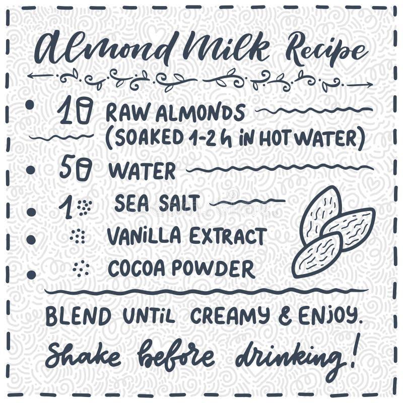 Ejemplo con receta hecha en casa de la leche de la almendra Plantilla del dise?o del alimento biol?gico Nutrici?n vegetariana Vec imágenes de archivo libres de regalías