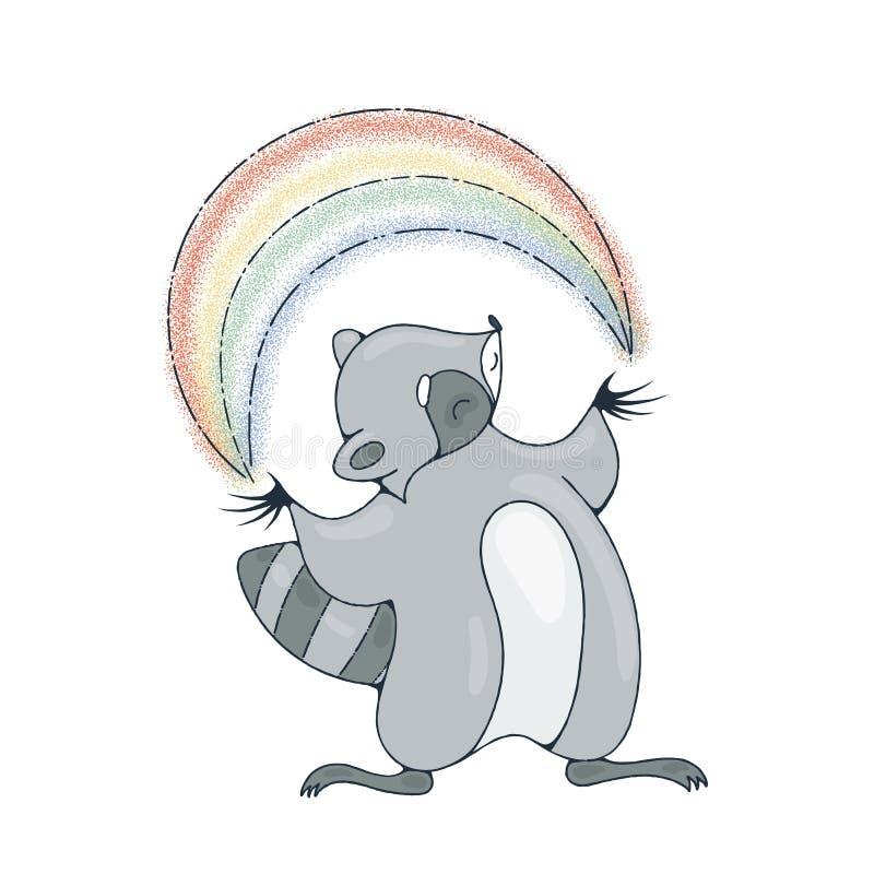 Ejemplo con un mapache alegre que juega con un arco iris ilustración del vector