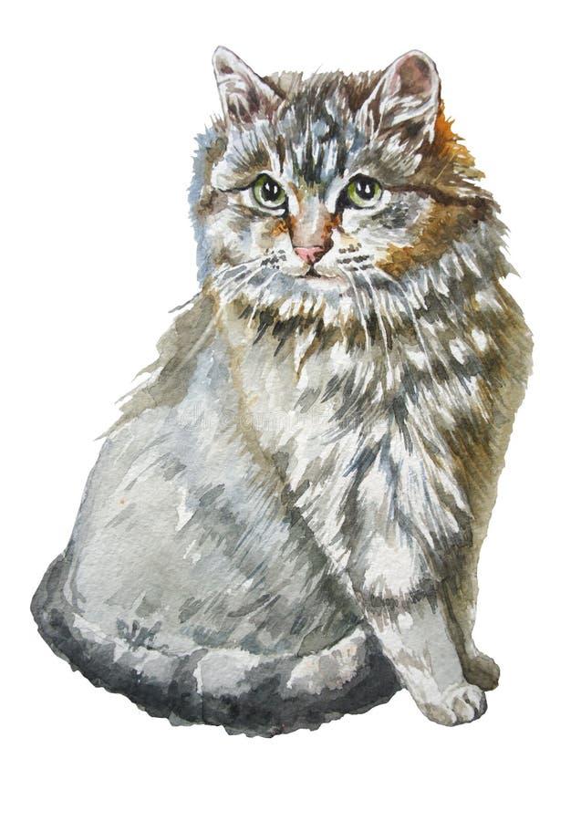 Ejemplo con un pequeño gato lindo ilustración del vector
