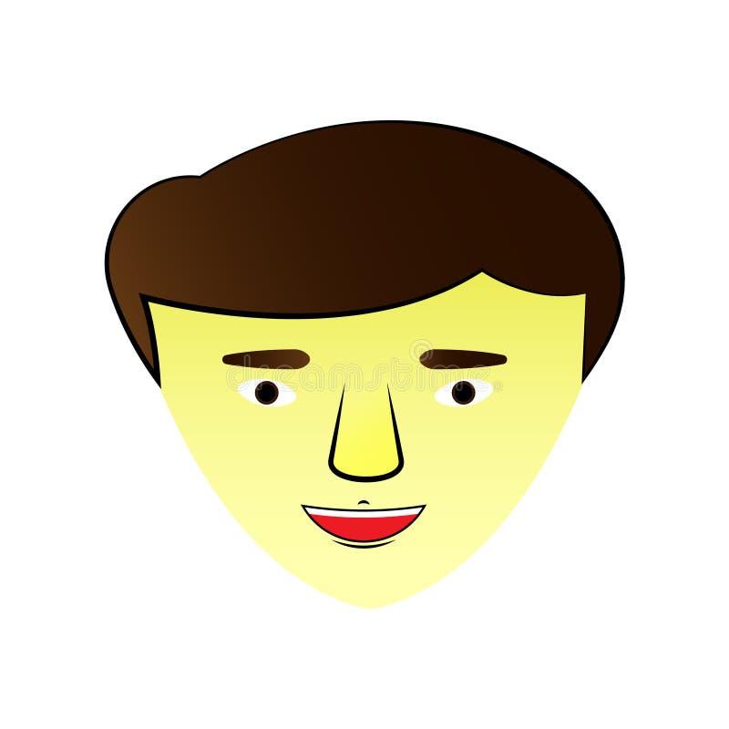 Ejemplo con una cara asiática del individuo icono Gráficos de vector, libre illustration