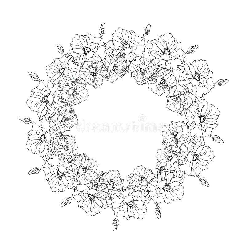 Ejemplo con una guirnalda de flores, blanco y negro ilustración del vector