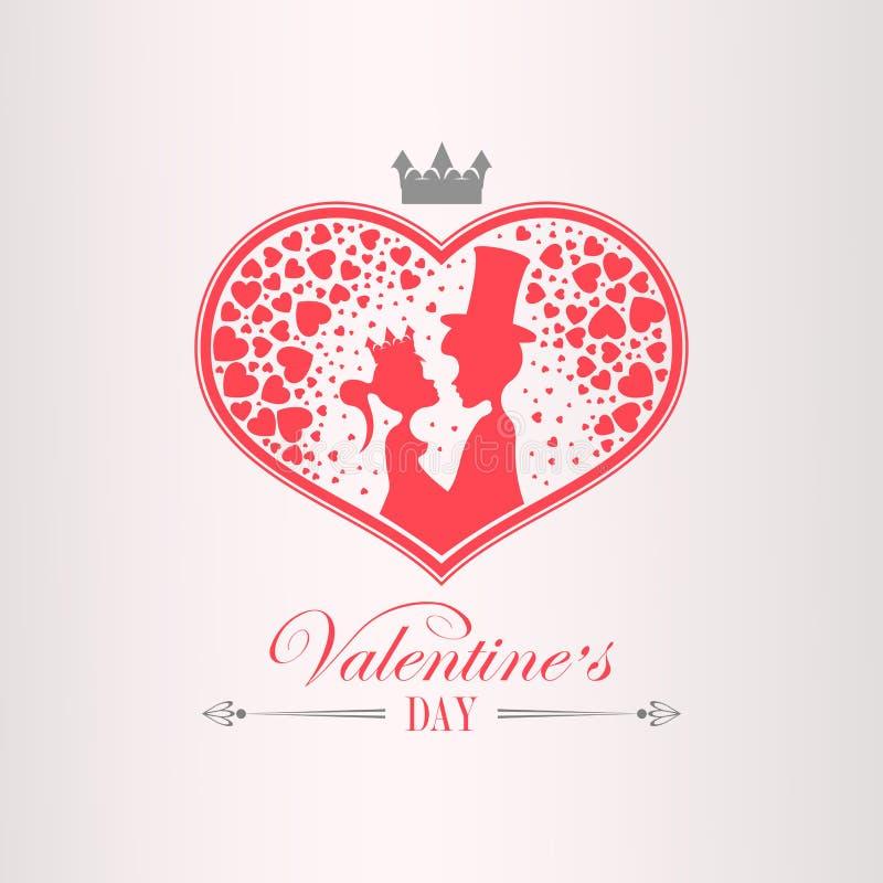 Ejemplo con una silueta de un corazón, un muchacho en un sombrero y una muchacha que lleva una corona, ilustración del vector