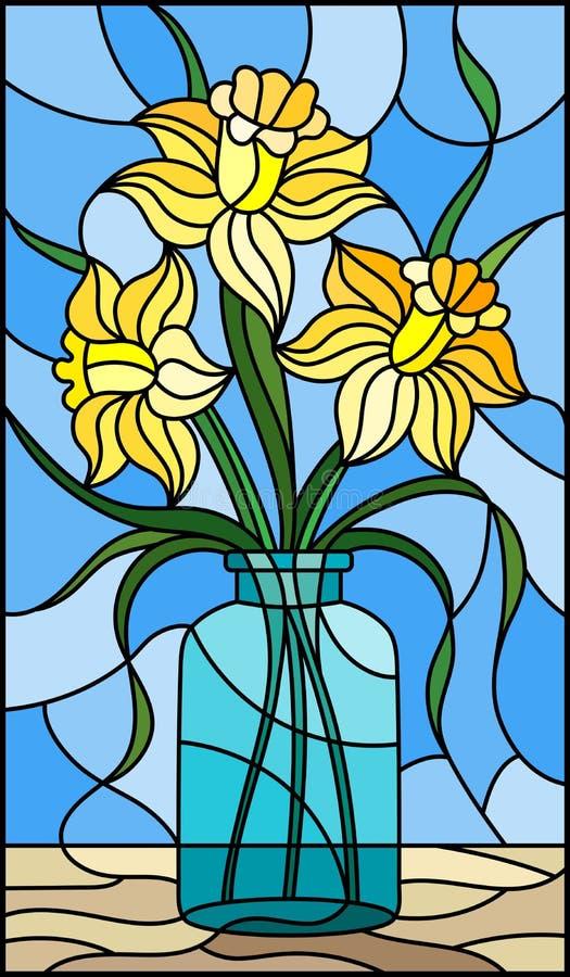 Ejemplo con vida inmóvil, ramo del vitral de narciso amarillo en un tarro de cristal en un fondo azul stock de ilustración