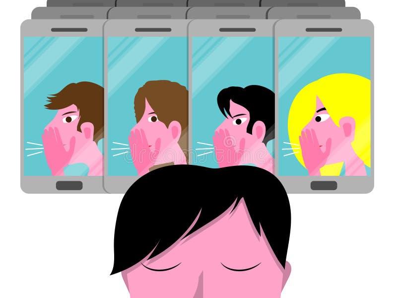 Ejemplo conceptual cibernético del vector que tiraniza con el muchacho triste, adolescente masculino molestado por un grupo en lo ilustración del vector