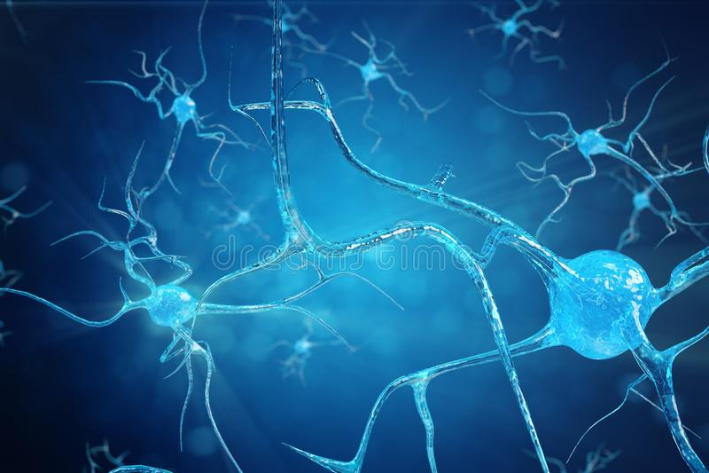 Ejemplo conceptual de las células de la neurona con los nudos del vínculo que brillan intensamente Células de la sinapsis y de la stock de ilustración