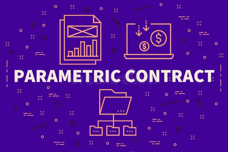 Ejemplo conceptual del negocio con el contr paramétrico de las palabras libre illustration