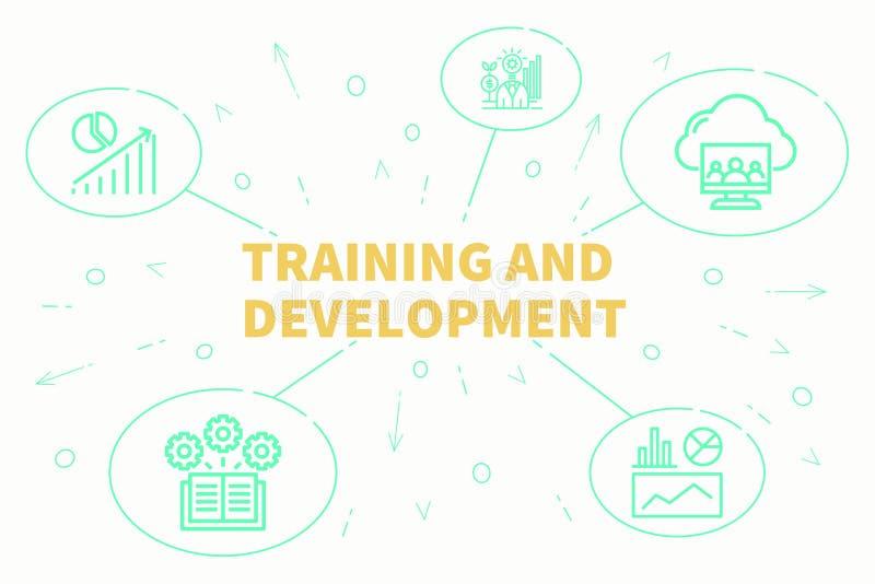 Ejemplo conceptual del negocio con el entrenamiento de las palabras y el revelador libre illustration