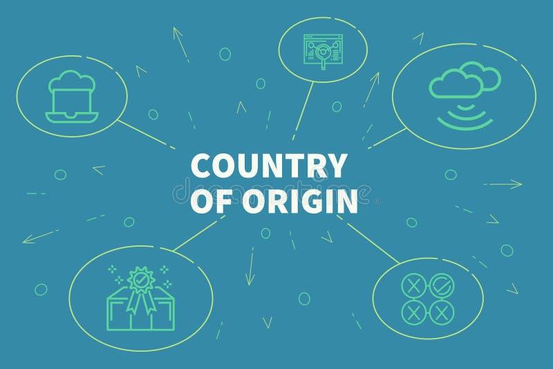 Ejemplo conceptual del negocio con el país de las palabras del origi stock de ilustración