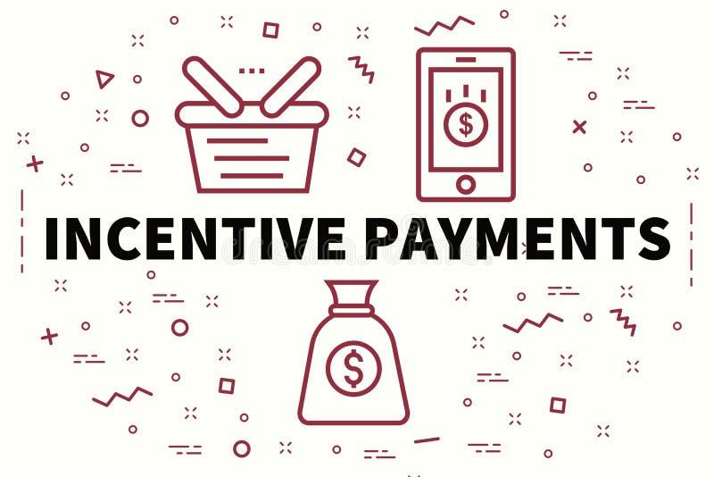 Ejemplo conceptual del negocio con el pago del incentivo de las palabras ilustración del vector