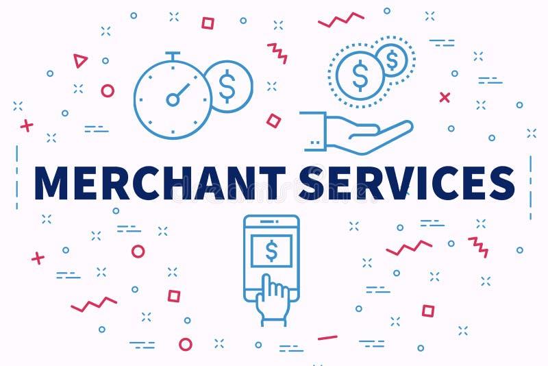Ejemplo conceptual del negocio con el servicio mercantil de las palabras stock de ilustración