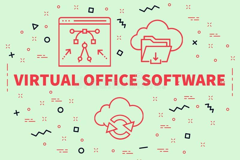 Ejemplo conceptual del negocio con la oficina virtual s de las palabras ilustración del vector