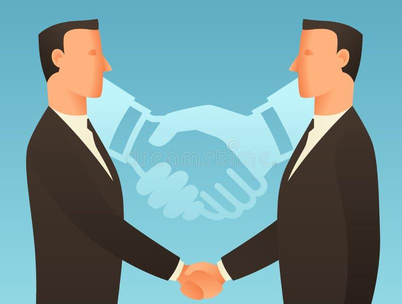 Ejemplo conceptual del negocio de la sociedad con los hombres de negocios que sacuden las manos ilustración del vector
