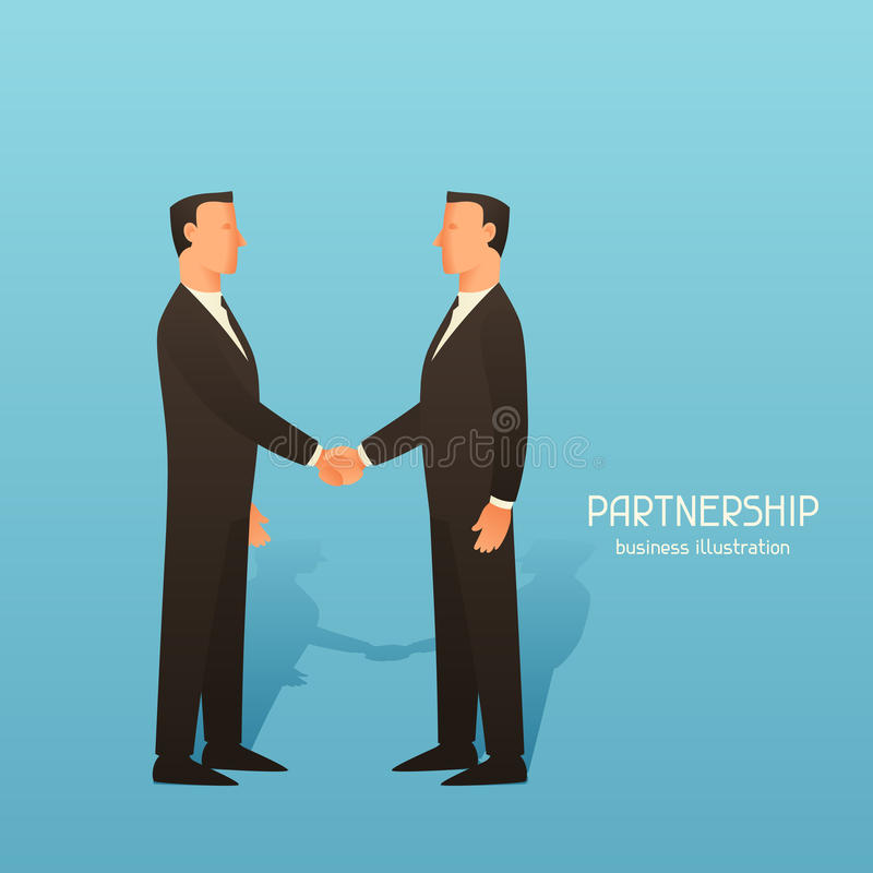Ejemplo conceptual del negocio de la sociedad con los hombres de negocios que sacuden las manos Imagen para los sitios web, artíc libre illustration
