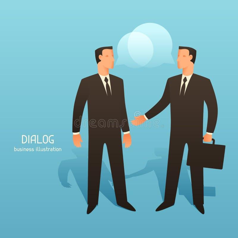 Ejemplo conceptual del negocio del diálogo con los hombres de negocios que hablan stock de ilustración