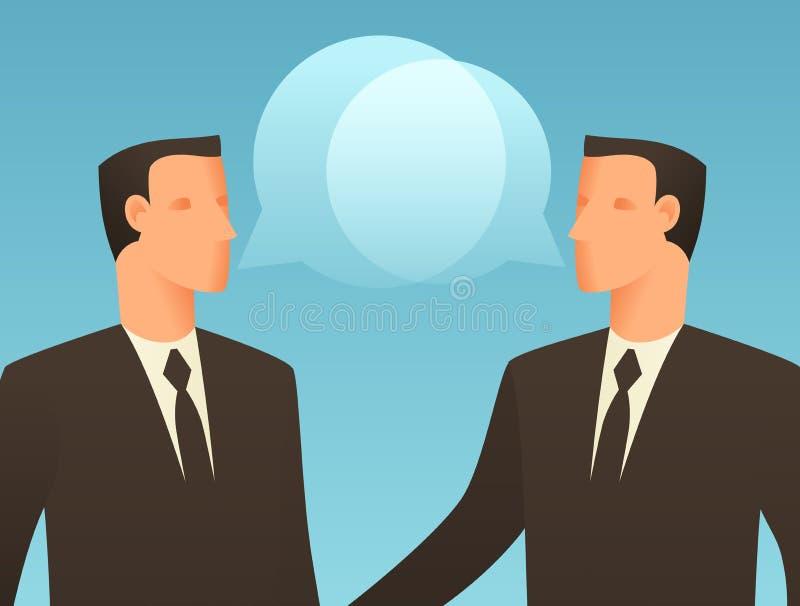 Ejemplo conceptual del negocio del diálogo con los hombres de negocios que hablan libre illustration