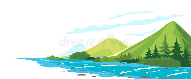 Ejemplo conceptual del río de la montaña stock de ilustración