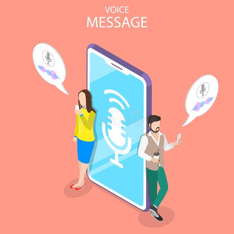 Ejemplo conceptual del vector plano isométrico del mensaje de la voz libre illustration