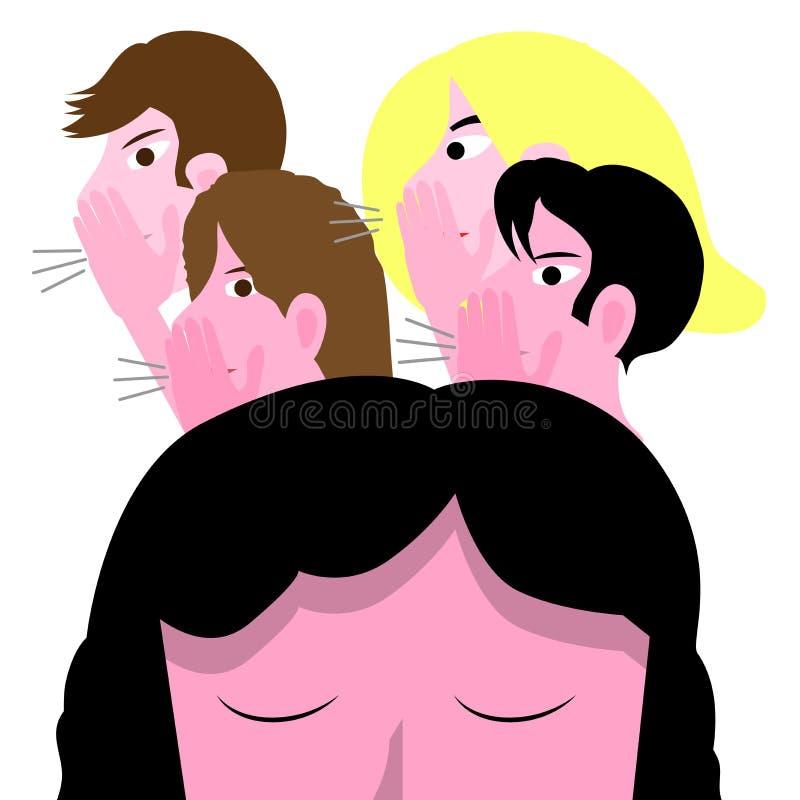 Ejemplo conceptual del vector que tiraniza con la muchacha triste, adolescente femenino molestado por un grupo de adolescencias ilustración del vector