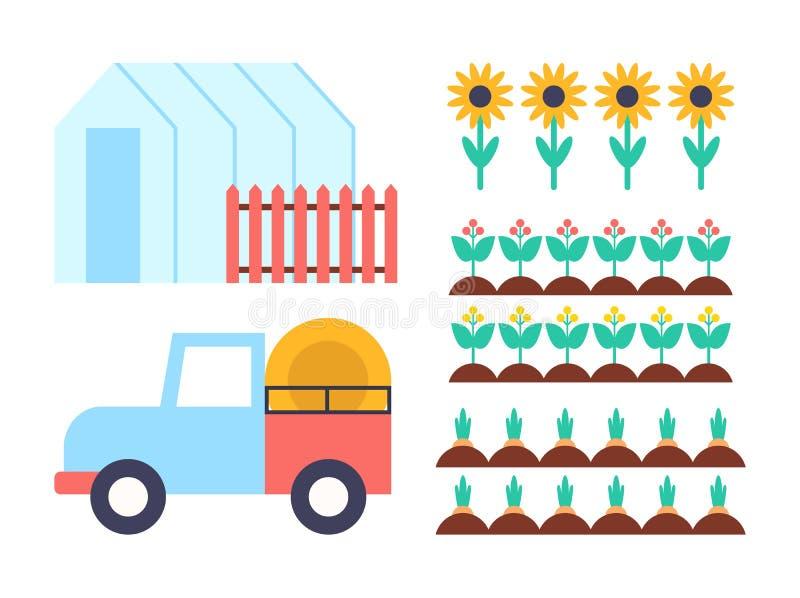 Ejemplo conservador del vector de los iconos del invernadero stock de ilustración