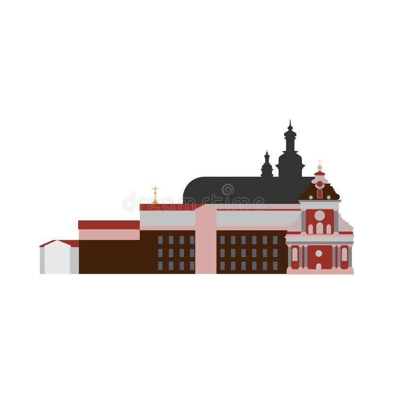Ejemplo constructivo antiguo de la arquitectura del vector de la abadía Iglesia plana del vector libre illustration