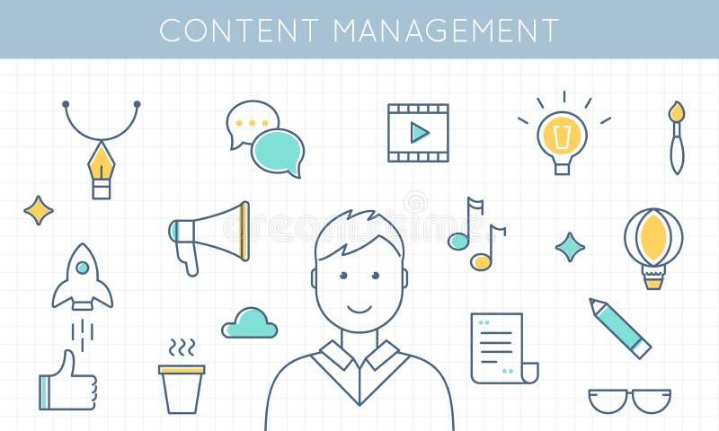Ejemplo contento de la gestión y del márketing ilustración del vector