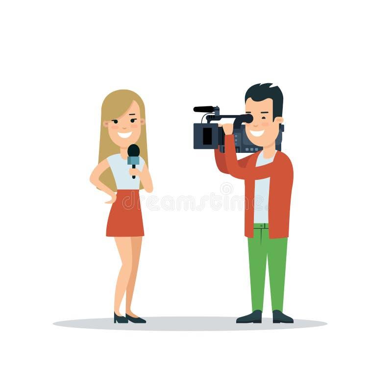 Ejemplo correspondiente del vector del estilo del periodista plano de la mujer La hembra con el micrófono, operador quita el víde stock de ilustración