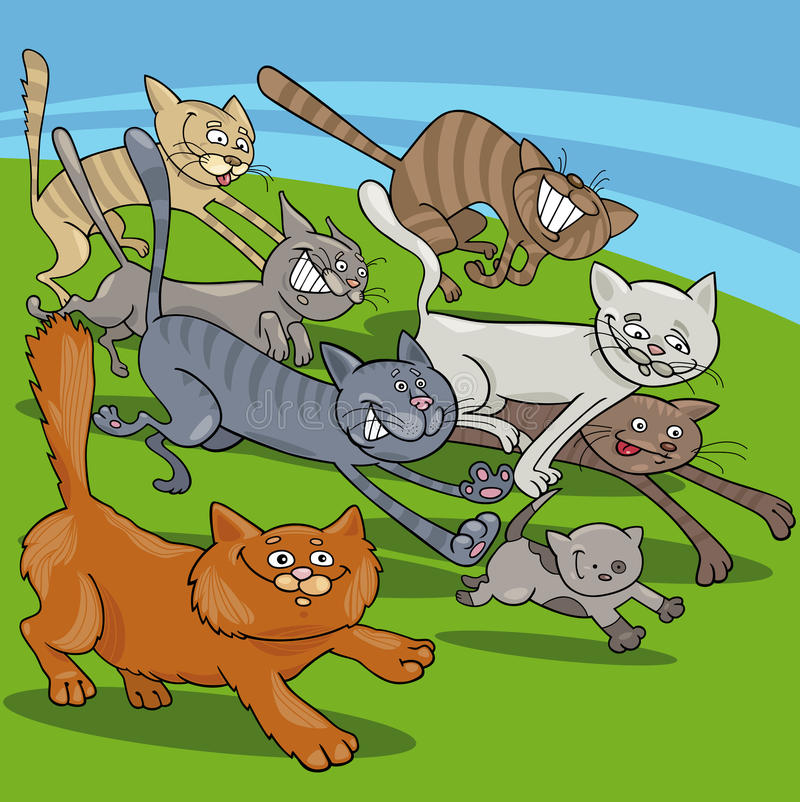 Ejemplo corriente de la historieta de los gatos libre illustration