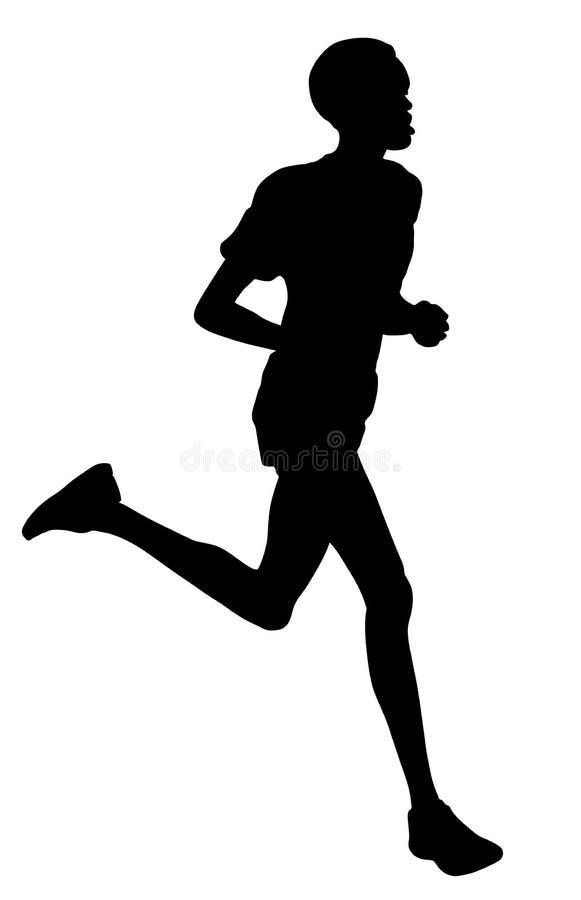 Ejemplo corriente de la silueta del vector del deportista del corredor africano del maratón libre illustration