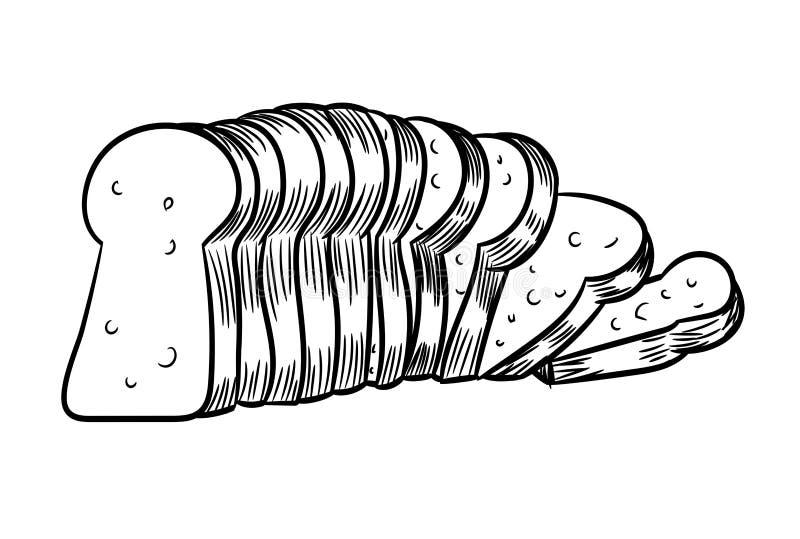 Ejemplo cortado dibujo del Pan-vector de la mano stock de ilustración