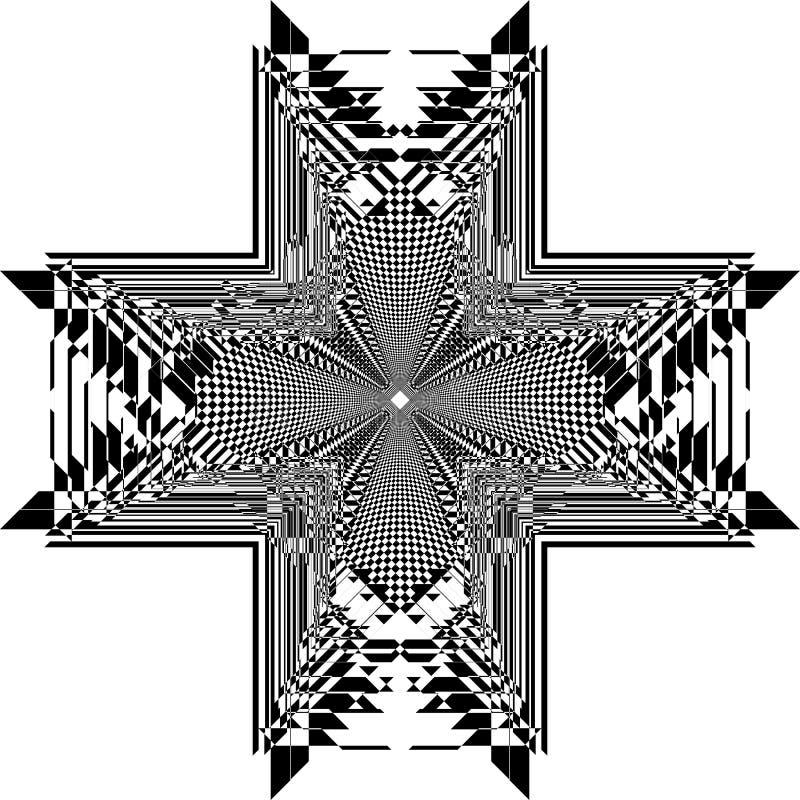 Ejemplo cortado extracto cruzado 2 del art déco del tridimensional del proyecto de la cerca del arabesque de la torre stock de ilustración